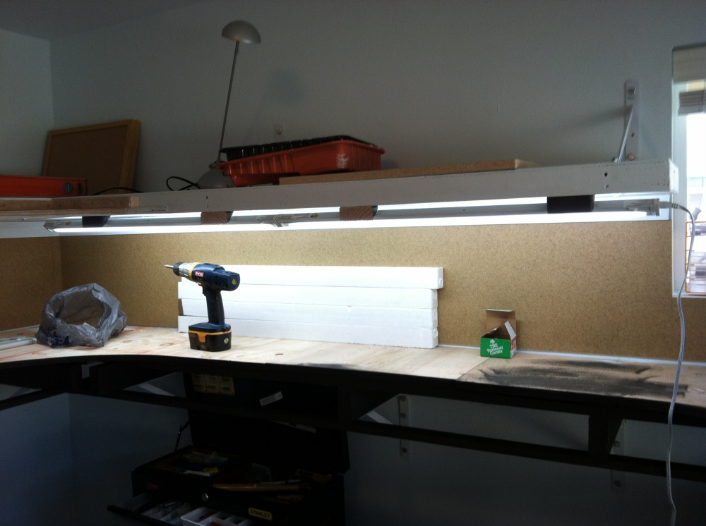 T4 slim fluorescent lights installed my layout.