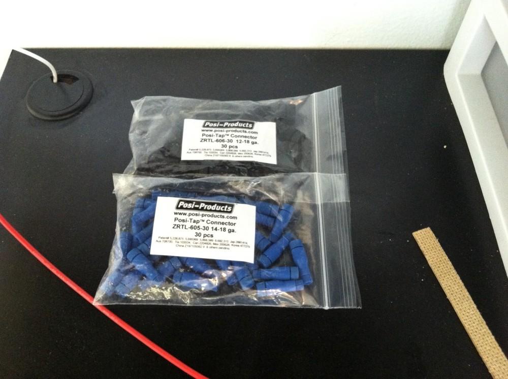 12 ga. black and 14 ga. blue Posi-Tap connectors